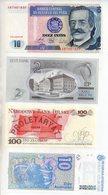Catbil  : Lot De 4 Billets NEUF Pologne 100 Zlotych Perou 10 Intis  2 Krooni EESTI Argentine 10 Australes - Billets