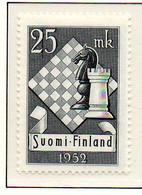 PIA - FINLANDIA - 1952  : 10° Torneo Di Scacchi A Helsinki -   (Yv  395) - Scacchi
