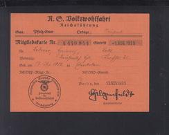 Dt. Reich NS Wolkswohlfahrt Mitgliedskarte 1935 - Historische Dokumente