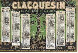 Calendrier De Poche 1933 Clacquesin Apéritif Extrait Des Pins Parfait état Port Gratuit 2 Scans - Calendarios