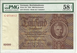 Germany 1000 Reichsmark 1936 P184 (rare C Prefix) Graded 58 EPQ (Choice About Uncirculated) By PMG - [ 4] 1933-1945 : Third Reich