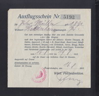 Württemberg Polizei Direktion Ausflufsschein Für Die Schweiz U. Liechtenstein Friedrichshafen 1932 - Historische Dokumente