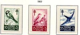 PIA - FINLANDIA  - 1953 : Pro Tubercolotici - Uccelli - (Yv 396-98) - Malattie