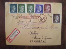 Allemagne France 1943 LAGER Censure Lettre Enveloppe Cover Deutsches Reich DR STO Reco Recommandé JOFTA BOLBEC - Marcofilie (Brieven)