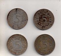 REF 1  : Monnaie COIN Allemagne Lot De 4 Monnaies 5 MARKS Argent Silver 1951 D, 1966 J, 1951 J X 2 - [ 7] 1949-… : RFA - Rép. Féd. D'Allemagne
