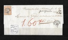 1854-1862 Helvetia (Ungezähnt) Strubel → Le Greffier Du Tribunal Du District D'Echallens   ►SBK-25B4.V◄ - 1854-1862 Helvetia (Non-dentelés)
