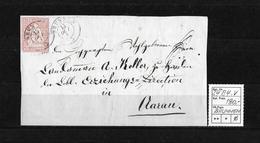 1854-1862 Helvetia (Ungezähnt) Strubel → Brieffragment BRUNNEN Nach AARAU   ►SBK-24B4.V◄ - Covers & Documents