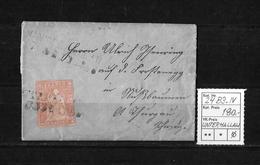 1854-1862 Helvetia (Ungezähnt) Strubel → Brief Balkenstempel UNTERHALLAU   ►SBK-24B3.IV◄ - 1854-1862 Helvetia (Non-dentelés)