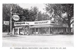 Pointe-du-Lac Québec Mauricie - Tomaqua Beach 1945-1955 - Restaurant Cabins Motel - Gas Station Esso - 2 Scans - Quebec