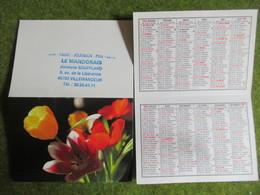 """Calendrier De Poche 1992 Bar-Tabac """"Le Mandorais"""" Villemandeur Loiret - Calendars"""
