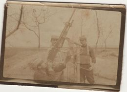 Photo Guerre 1914 1918 Mitrailleuse Anti Aerienne Bray Sur Somme 1915 - 1914-18