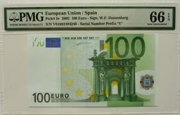 Spain EUR 100 Printercode M001 Duissenberg Graded 66 EPQ Gem Uncirculated By PMG - EURO