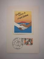 FRANCE FDC 1 Carte Maximum SOIE 1er Premier Jour LUTTE CONTRE LE RACISME 1982 - Collection Timbre Poste - FDC