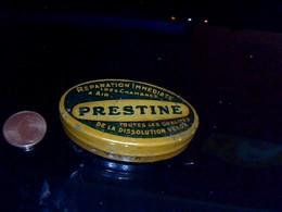 """Boite  Lithographièe En Fer Peint  PUBLICITAIRE   MECANIQUE """" Rustines Prestine VeloX """" - Scatole"""