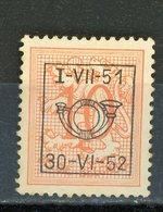 BELGIQUE  I-VII-51 / 30-VI-52 N° Yvert ? (*) - Typo Precancels 1951-80 (Figure On Lion)