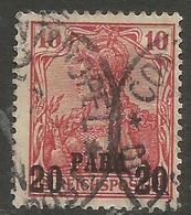 German Offices Turkish Empire - 1900 Germania Overprint 20pa/10pf Used   Sc 14 - Offices: Turkish Empire