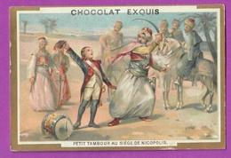 Chromo Image CHOCOLAT EXQUIS -  Grand Evénements - Petit Tambour Au Siège De Nicopolis (encadré Doré) - Chocolat