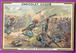 Chromo Image CHOCOLAT EXQUIS -  Grand Evénements - Les Turcos à Reichshoffen (encadré Doré) - Chocolate