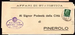 ITALY ITALIA 1935. Busta 25C, MANTOVA - PINEROLO - Usati