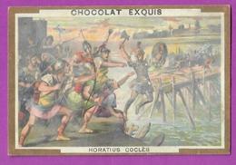 Chromo Image CHOCOLAT EXQUIS -  Grand Evénements - Horiatus Coclès (encadré Doré) - Unclassified