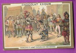 Chromo Image CHOCOLAT EXQUIS -  Grand Evénements - François 1 Er Armé Chevalier Par Bayard (encadré Doré) - Unclassified