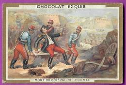 Chromo Image CHOCOLAT EXQUIS -  Grand Evénements - Mort Du Général De LOURMEL  (encadré Doré) - Unclassified