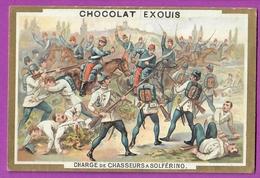 Chromo Image CHOCOLAT EXQUIS -  Grand Evénements - Charge Des Chasseurs D'Afrique  à Solférino  (encadré Doré) - Unclassified