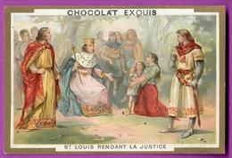Chromo Image CHOCOLAT EXQUIS -  Grand Evénements - Saint Louis Rendant La Justice (encadré Doré) - Unclassified