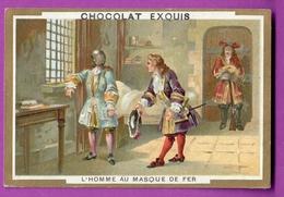 Chromo Image CHOCOLAT EXQUIS -  Grand Evénements - L'Homme Au Masque De Fer (encadré Doré) - Unclassified
