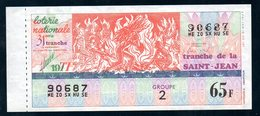 LOTERIE NATIONALE 1977 - TRANCHE N° 31 = LA SAINT JEAN / BILLET ENTIER SUPERBE Complet De Sa Souche VOIR  2 SCAN - Billets De Loterie