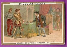 Chromo Image CHOCOLAT EXQUIS -  Grand Evénements - Louis XI Et Charles Le Téméraire à Péronne (encadré Doré) - Unclassified