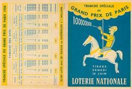 Publicités - Loterie Nationale - Hippisme - Courses De Chevaux - Grand Prix De Paris - Reclame