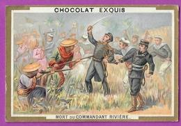 Chromo Image CHOCOLAT EXQUIS -  Grand Evénements - Mort Du Commandant Rivière (encadré Doré) - Unclassified