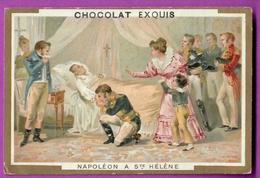 Chromo Image CHOCOLAT EXQUIS -  Grand Evénements - Napoléon 1 Er  à Saint Hélène  (encadré Doré) - Chocolate