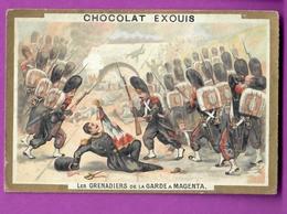 Chromo Image CHOCOLAT EXQUIS -  Grand Evénements - Les Grenadiers De La Garde à Magenta  (encadré Doré) - Unclassified