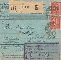 Paketkarte Affr Michel182 X 2 + 157 X 8 Obl KEHL Du30.5.22 Adressée à Bischwiller - Germany