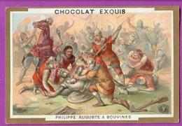 Chromo Image CHOCOLAT EXQUIS -  Grand Evénements - Philippe Auguste à Bouvines (encadré Doré) - Unclassified