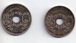 REF 1  : Monnaie COIN France 25 Centimes X 2 LINDAUER 1917 1919 - France