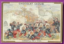 Chromo Image CHOCOLAT EXQUIS -  Grand Evénements - Combat De PA - LI -  KIA  (encadré Doré) - Unclassified