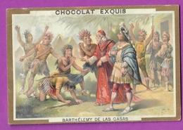 Chromo Image CHOCOLAT EXQUIS -  Grand Evénements - Barthélémy De Las Casas Apôtre Des Indiens  (encadré Doré) - Unclassified