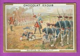 Chromo Image CHOCOLAT EXQUIS -  Grand Evénements - Bataille De Fontenoy  (encadré Doré) - Unclassified