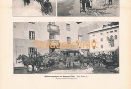 438 Wintervergnügen Cortina Ampezzo Schlitten Zeitungsbild 37x27 Cm 1902 !! - Unclassified
