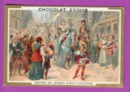 Chromo Image CHOCOLAT EXQUIS -  Grand Evénements - Entrée De Jeanne D'Arc à Orléans  (encadré Doré) - Unclassified