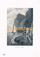 445 Zeno-Diemer: Tremosine Gardasee Berge Druck Kunstblatt 1905 !! - Gegraveerde Prenten