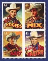 ETATS UNIS Cowboys Of The Silver Screen. William S. Hart, Tom Mix, Gene Autry, Et Roy Rogers. 4 Auto-adhésifs Neufs**. - Cinéma