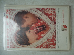 Affiche Publicitaire Coca Cola 25cm Sur16 ( Coeur )   1959 Copyright / Reclamaffiche Cola Coca - Manifesti Pubblicitari
