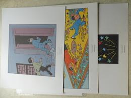 Tintin 3 Planches De Bd Recente ( Herge Moulinsart 2010 )  Le Lotus Bleu / Kuifje Parfait Etat ( Dimension 24 / 20 Cm ) - Autres Collections