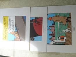 Tintin 3 Planches De Bd Recente ( Herge Moulinsart 2011 )  En Amerique / Kuifje Parfait Etat ( Dimension 24 / 20 Cm ) - Autres Collections