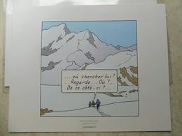 Tintin 1 Planche De Bd Recente ( Herge Moulinsart 2010 ) Au Tibet  / Kuifje Parfait Etat ( Dimension 24 / 20 Cm ) - Autres Collections