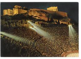 Grecia Hellas Greece Athens The Odeon Of Herode Atticus Illuminated Atene L'Odeon Di Erode Attico Illuminato Non Viaggia - Grecia